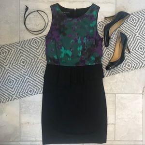 INC Watercolor Asymmetrical Peplum Dress